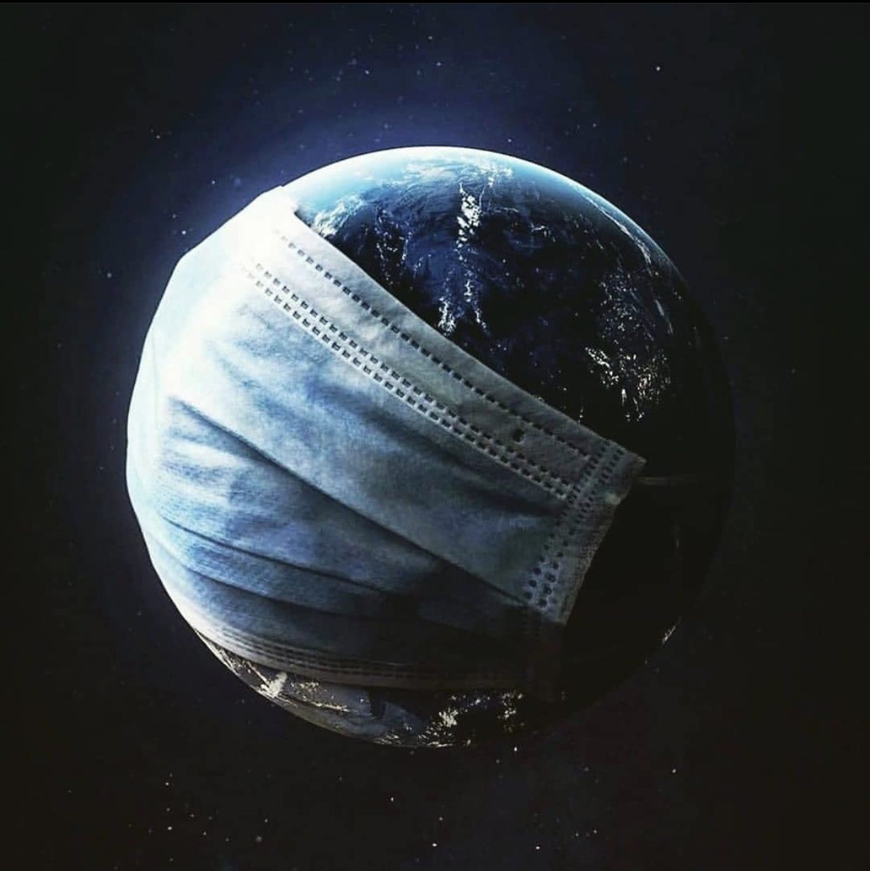 Earth under a pandemic, wearing a mask.